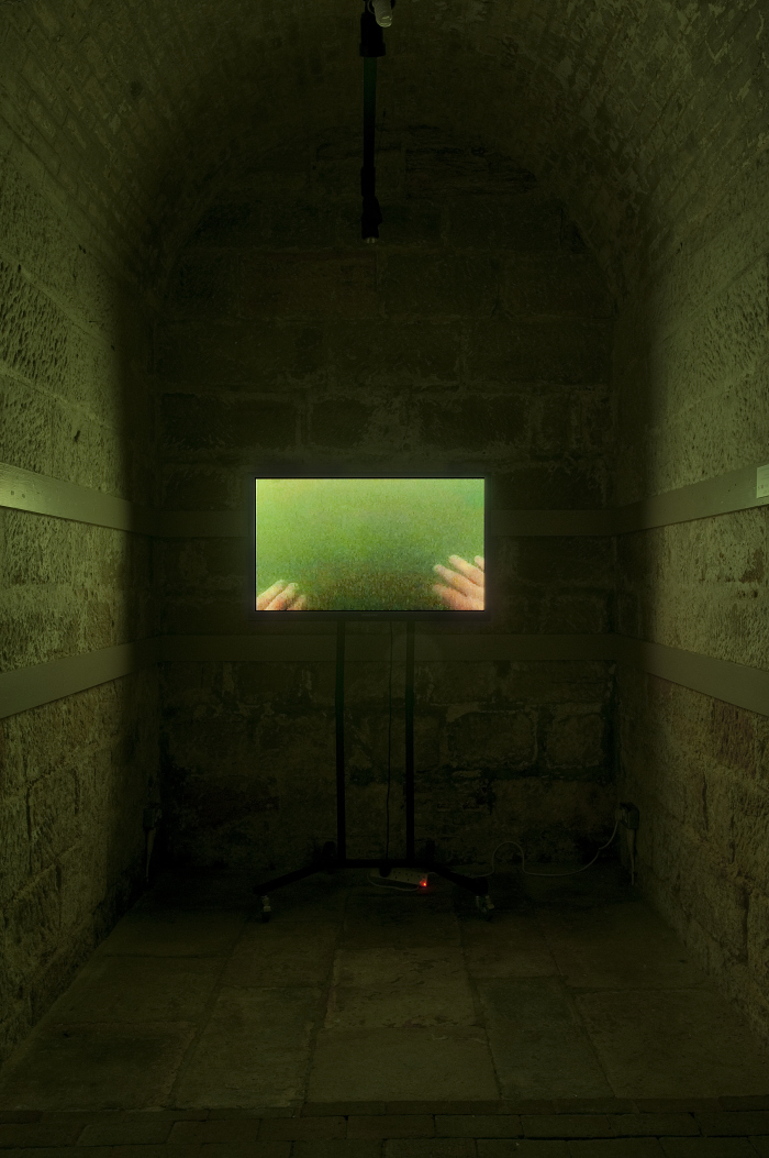 "My video ""You will always cherish the sea"" during the exhibition ""Ici et Là-Here and There"", installed in the ex-church of St. Mary in the Castle, Hastings (Uk), september-october 2013."